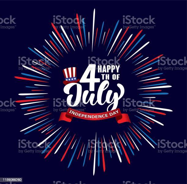 Happy 4th Of July Independence Day Usa Handwritten Phrase With Stars American Flag Hat Of Uncle Sam And Firework — стоковая векторная графика и другие изображения на тему Американская культура