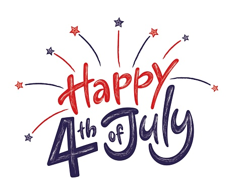Happy 4th of July Independence day USA  handwritten phrase with stars and firework isolated on white background. Vector lettering illustration.