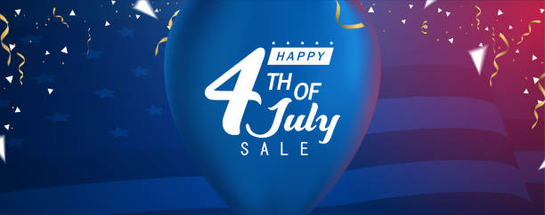 Happy 4th of July Sale, Happy Independent Day Sale Banner vector art illustration