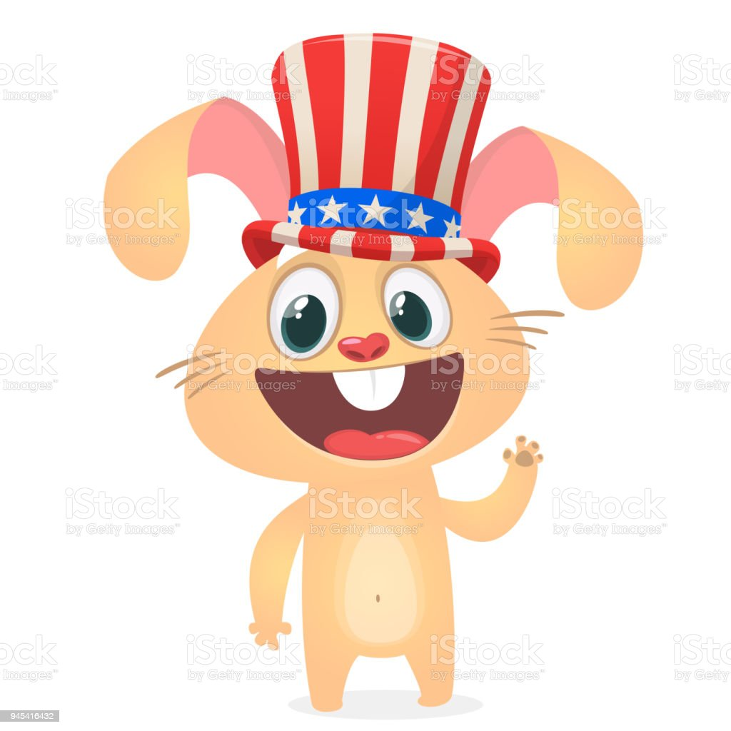 Happy 4th Of July Sticker Card With Cartoon Rabbit. Vector Illustration.  Royalty Free