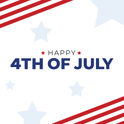 Happy 4th of July Text with American Flag Border and Stars Banner, Patriotic Vector Illustration