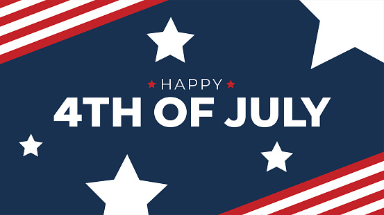 Happy 4th of July Typography with American Flag Border and Stars, Patriotic Vector Illustration