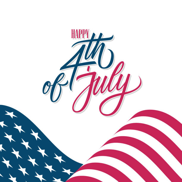 Happy 4th of July United States Independence Day greeting card with waving american national flag and hand lettering greetings. vector art illustration