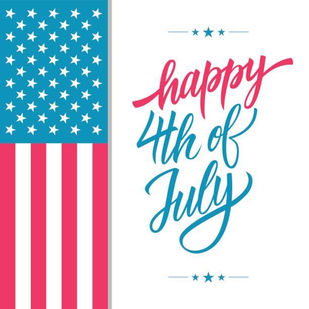 快樂 7 月 4 日美國獨立日賀卡手刻字文本設計與美國國旗。 - happy 4th of july 幅插畫檔、美工圖案、卡通及圖標