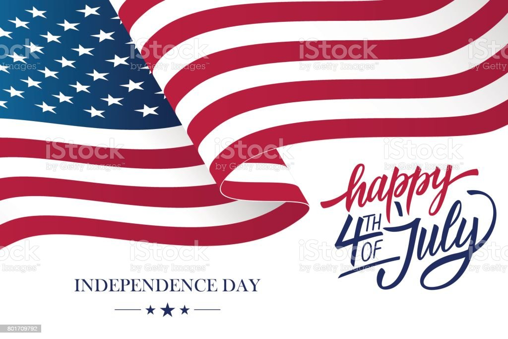 Happy 4th of July USA Independence Day greeting card with waving american national flag and hand lettering text design. vector art illustration