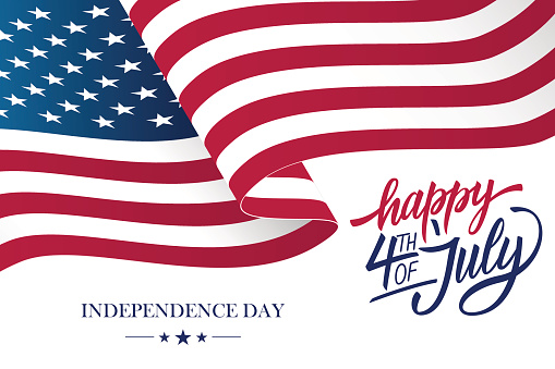 Happy 4th Of July Usa Independence Day Greeting Card With Waving American National Flag And Hand Lettering Text Design Stock Illustration - Download Image Now