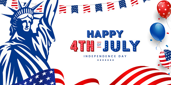 Happy 4th of July, USA Independence day modern trendy design with 3d star lettering, typography design. on American waving flag, statue of liberty, usa balloon and stars on the background.
