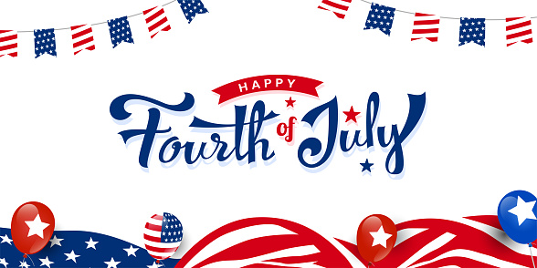 Happy 4th of July, USA independence day trendy custom hand-lettering, typography design with ribbon on usa waving flag, balloon promotion advertising banner template for Brochures, Poster Banner. Vector illustration