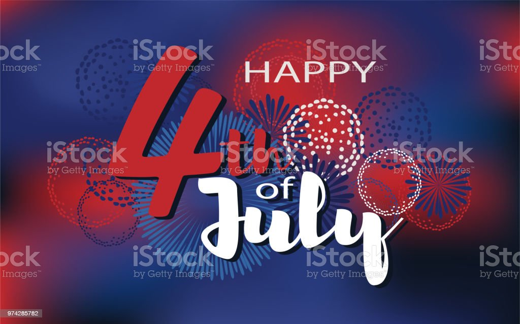 Happy 4th of July vector background. Fireworks of Independence day illustration. Happy 4th of July vector background. Fireworks of Independence day illustration. Abstract stock vector