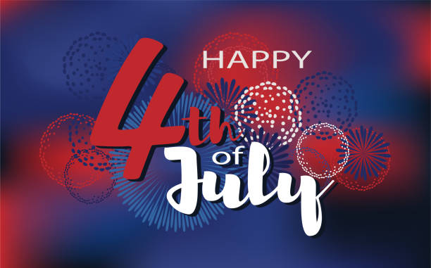 happy 4th of july vector background. fireworks of independence day illustration. - 4th of july stock illustrations, clip art, cartoons, & icons