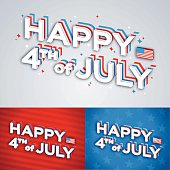 Happy fourth of July independence day concept message with sparkles and 3d text. EPS 10 file. Transparency effects used on highlight elements.