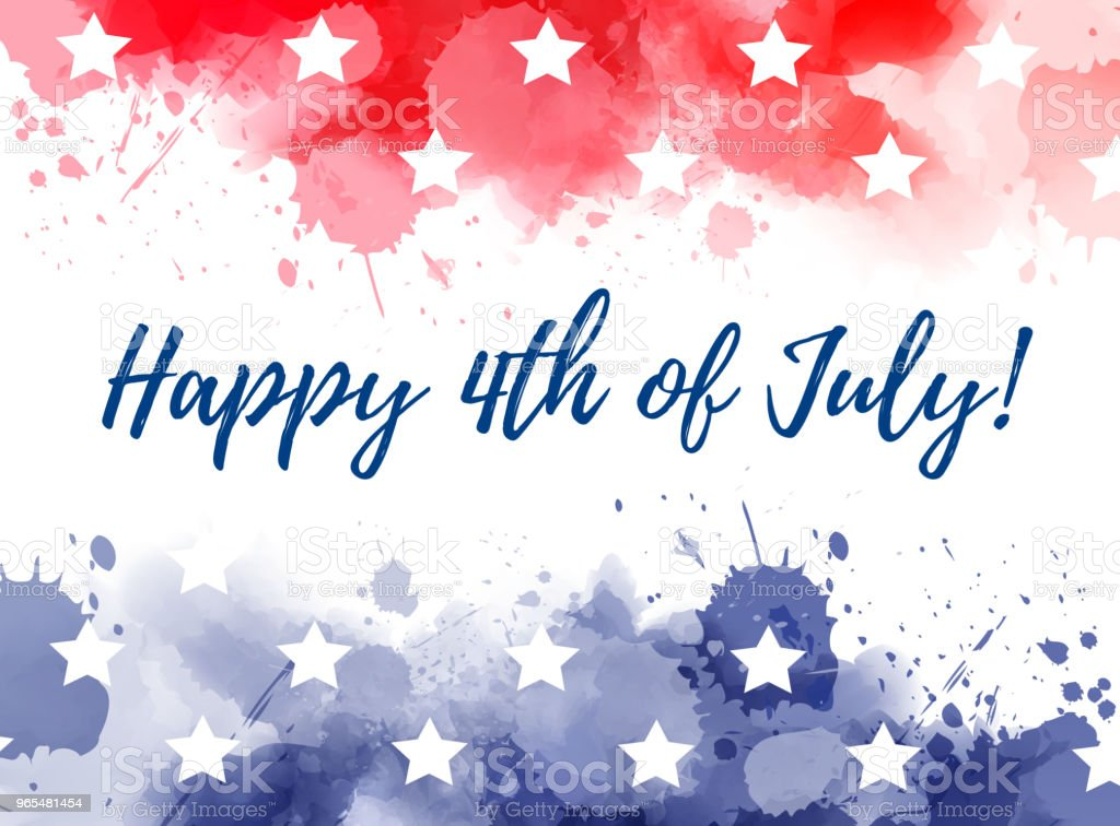 Happy 4th of July watercolor splashes background vector art illustration