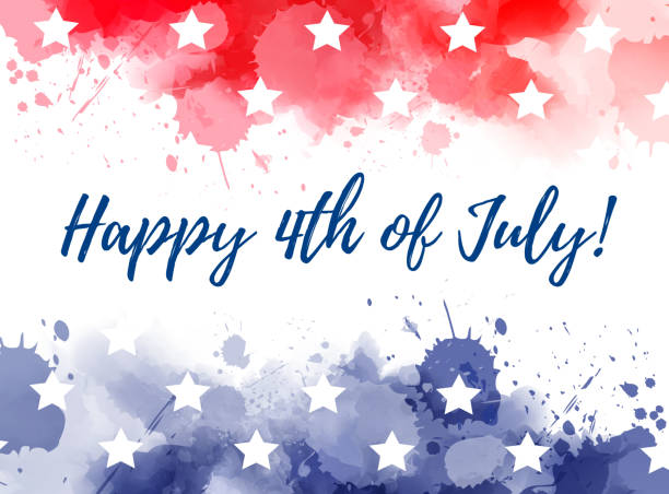 Happy 4th of July watercolor splashes background Happy 4th of July! Abstract background with watercolor splashes in flag colors for USA Independence day holiday. Blue and red colored with stars. Template for holiday background, invitation, flyer, etc. circa 4th century stock illustrations