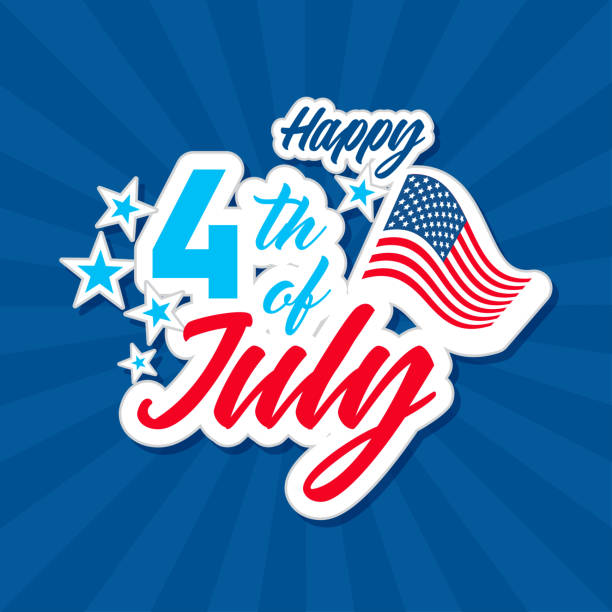happy 4th of july with usa flag, independence day greeting card vector illustration. typography design. - happy 4th of july stock illustrations