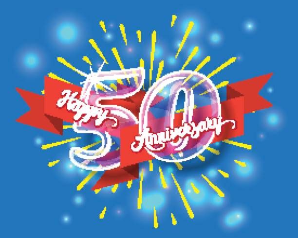Happy 50th anniversary glass bulb numbers set vector art illustration