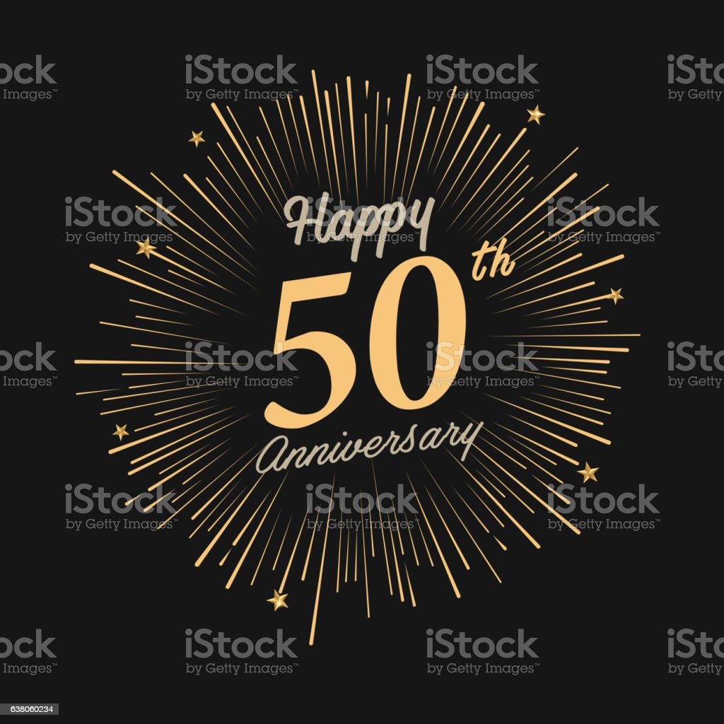Happy 50th Anniversary with fireworks and star vector art illustration
