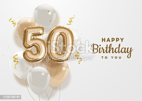 istock Happy 50th birthday gold foil balloon greeting background. 1226756797