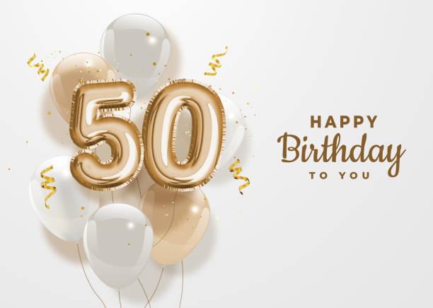 stockillustraties, clipart, cartoons en iconen met gelukkige 50ste achtergrond van de verjaardagsgouden folieballon. - getal 50