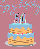 happy 50th birthday greeting card with birthday cake illustration