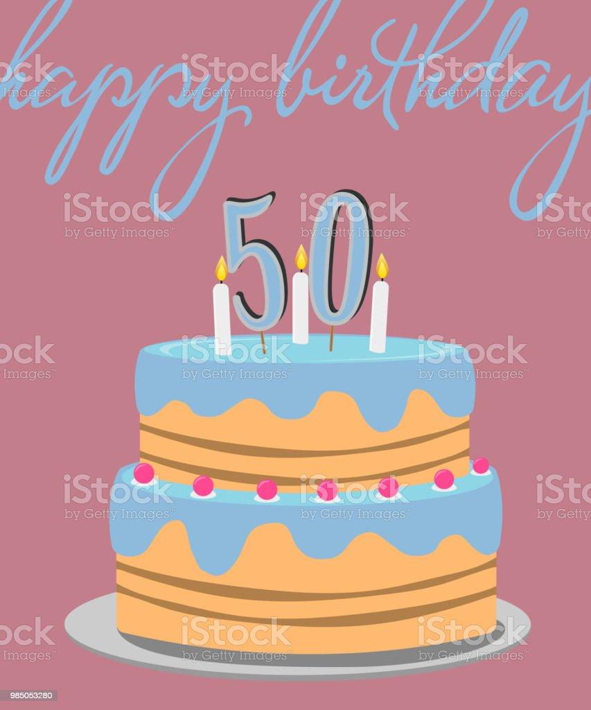 happy 50th birthday greeting card with birthday cake illustration vector art illustration