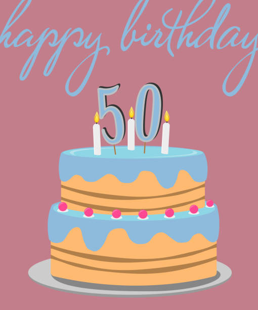 happy 50th birthday greeting card with birthday cake illustration vector art illustration