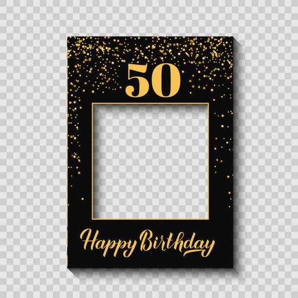 Happy 50th Birthday photo booth frame on a transparent ackground. Birthday party photobooth props. Black and gold confetti party decorations. Vector template Happy 50th Birthday photo booth frame on a transparent ackground. Birthday party photobooth props. Black and gold confetti party decorations. Vector template. anniversary borders stock illustrations
