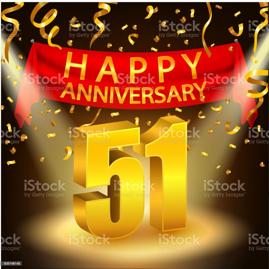 Happy 51st Anniversary celebration with golden confetti and spotlight vector art illustration
