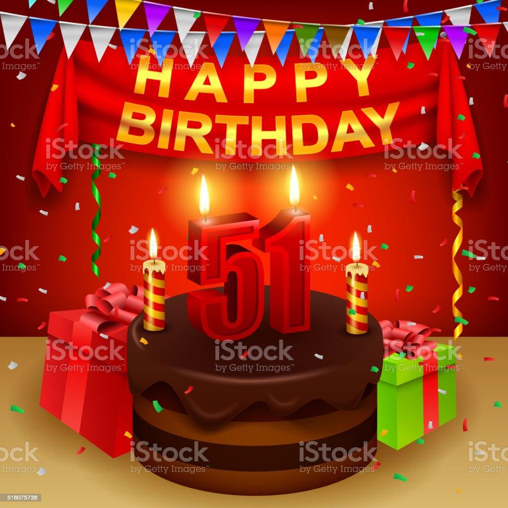 Happy 51st Birthday with chocolate cream cake and triangular flag vector art illustration