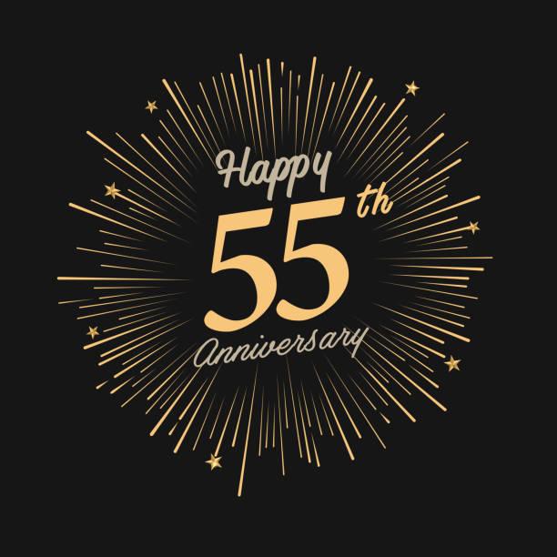 bildbanksillustrationer, clip art samt tecknat material och ikoner med happy 55th anniversary with fireworks and star - 55 59 år