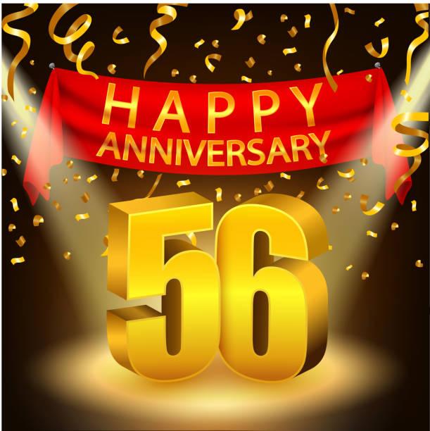 bildbanksillustrationer, clip art samt tecknat material och ikoner med happy 56th anniversary celebration with golden confetti and spotlight - 55 59 år
