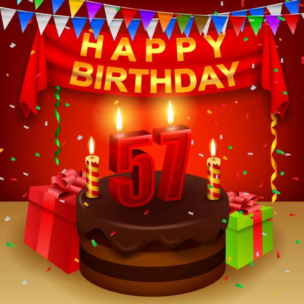 bildbanksillustrationer, clip art samt tecknat material och ikoner med happy 57th birthday with chocolate cream cake and triangular flag - 55 59 år