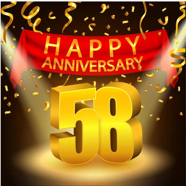 bildbanksillustrationer, clip art samt tecknat material och ikoner med happy 58th anniversary celebration with golden confetti and spotlight - 55 59 år