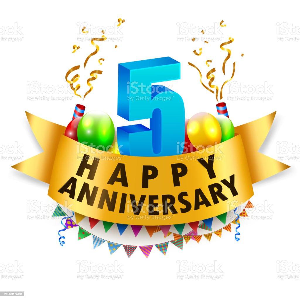 happy 5th anniversary celebration stock vector art amp more