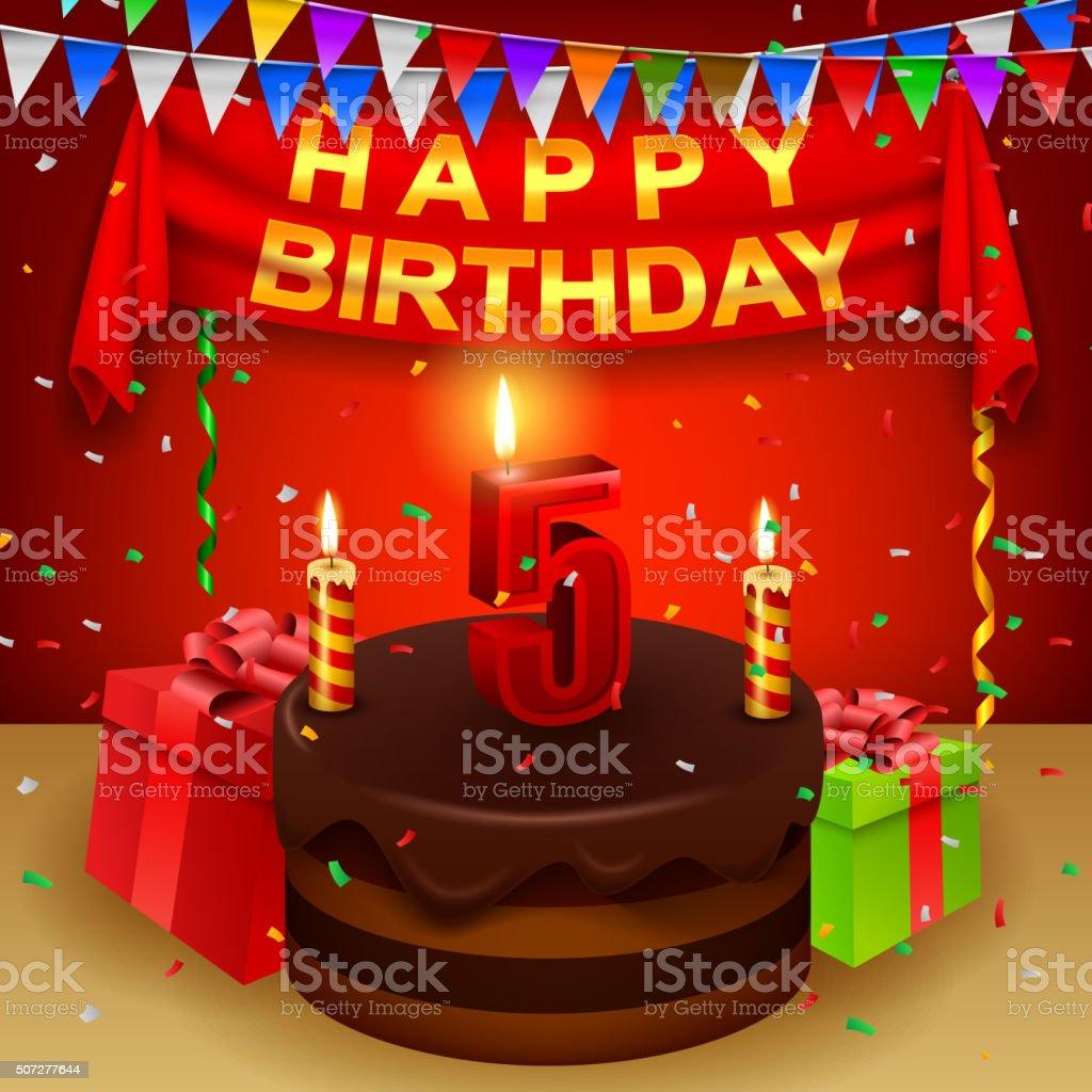 Glücklich 5 Geburtstag Mit Schokolade Creme Kuchen Und Dreieckigen