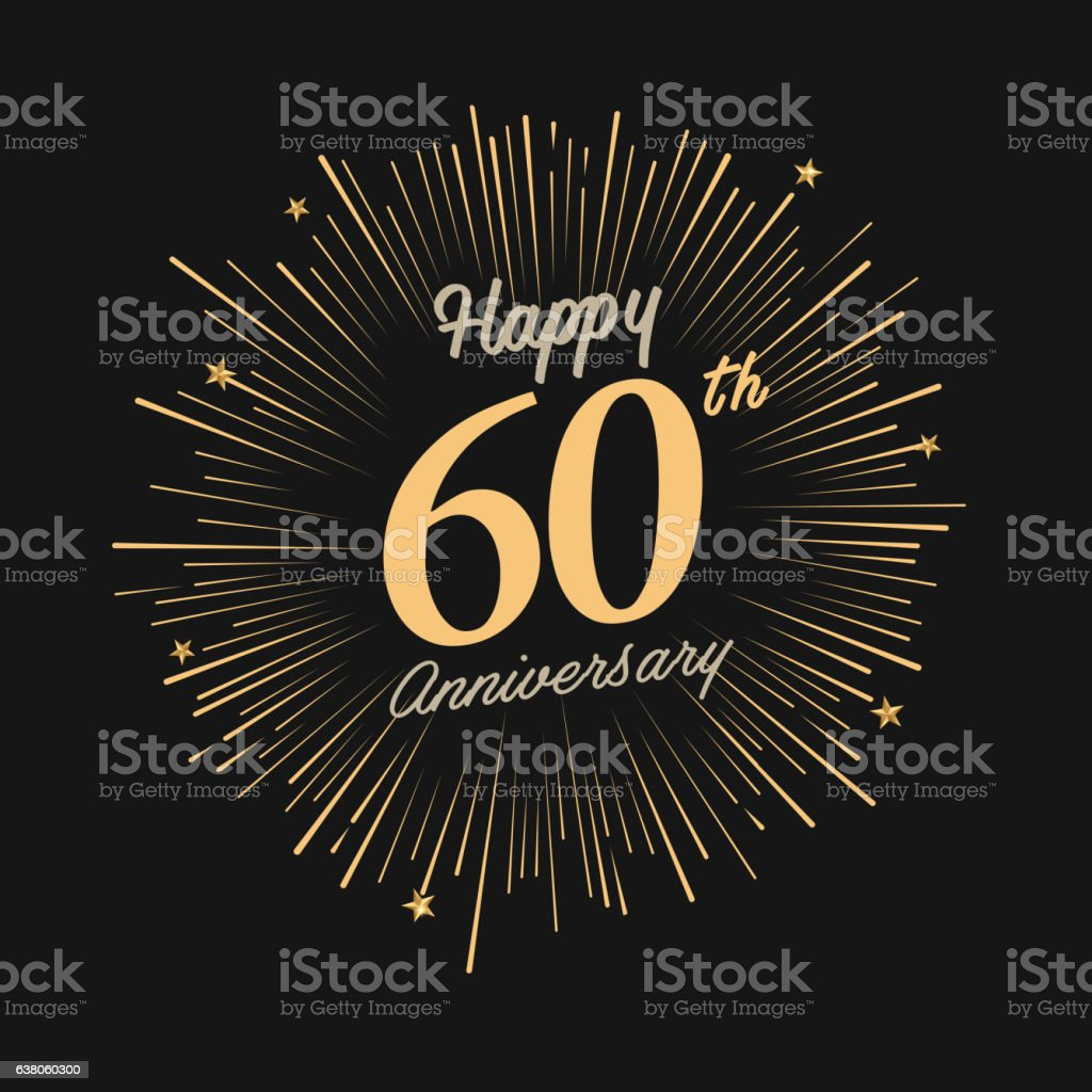 Happy 60th Anniversary with fireworks and star vector art illustration