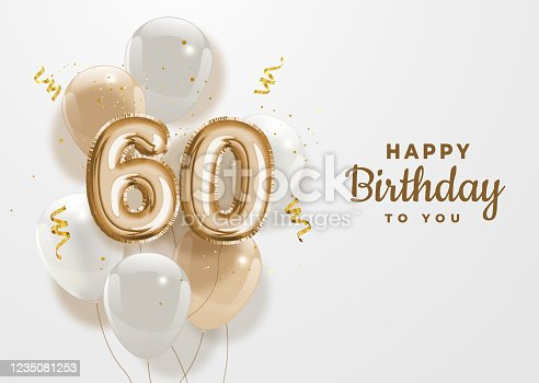 Happy 60th birthday gold foil balloon greeting background. 60 years anniversary logo template- 60th celebrating with confetti. Vector stock.