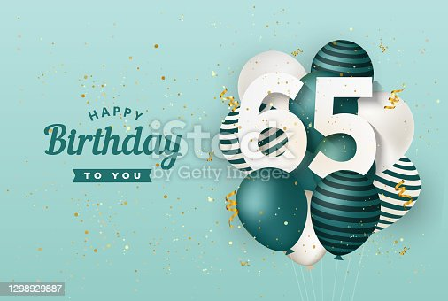 istock Happy 65th birthday with green balloons greeting card background. 1298929887