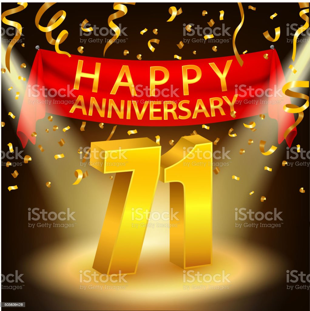 Happy 71st anniversary celebration with golden confetti and happy 71st anniversary celebration with golden confetti and spotlight royalty free happy 71st anniversary celebration buycottarizona