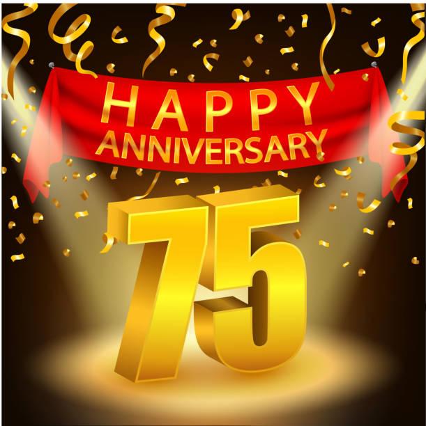 Happy 75th Anniversary celebration with golden confetti and spotlight vector art illustration