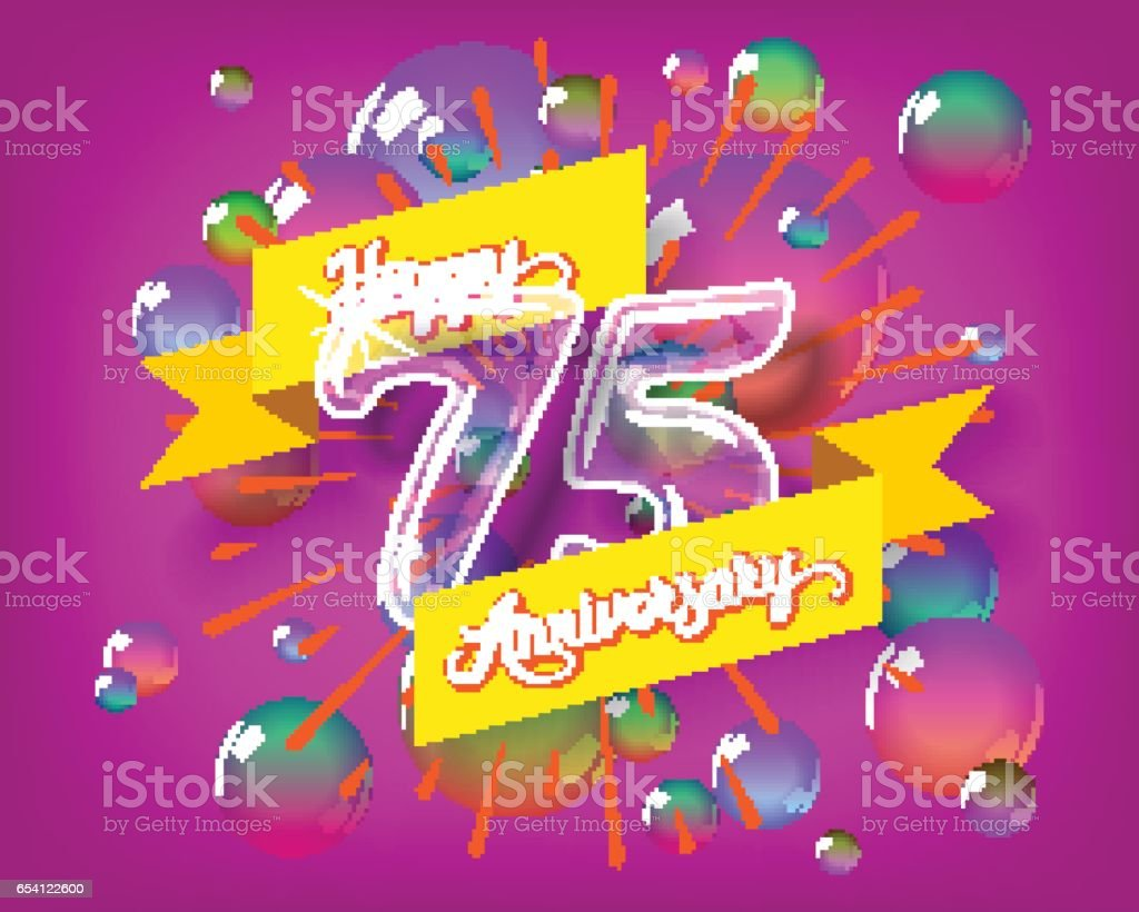 Happy 75th anniversary glass bulb numbers set vector art illustration