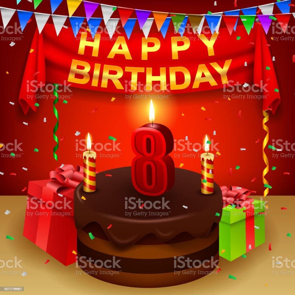 Happy 8th Birthday With Chocolate Cream Cake And Triangular Flag