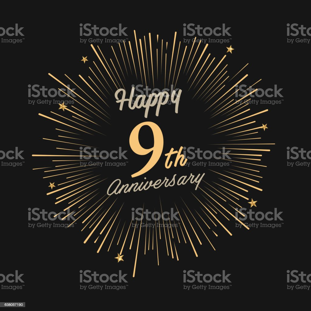 Happy 9th Anniversary With Fireworks And Star Stock Vector Art