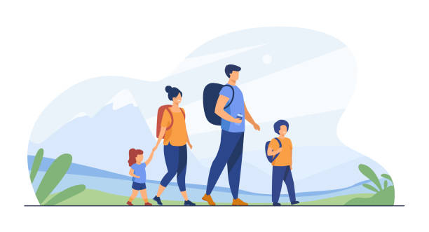 Happy active family walking outdoors Happy active family walking outdoors. Couple of tourists with children hiking, carrying camping backpacks. Vector illustration for holiday, mountain trekking, activity, lifestyle concept hiking stock illustrations