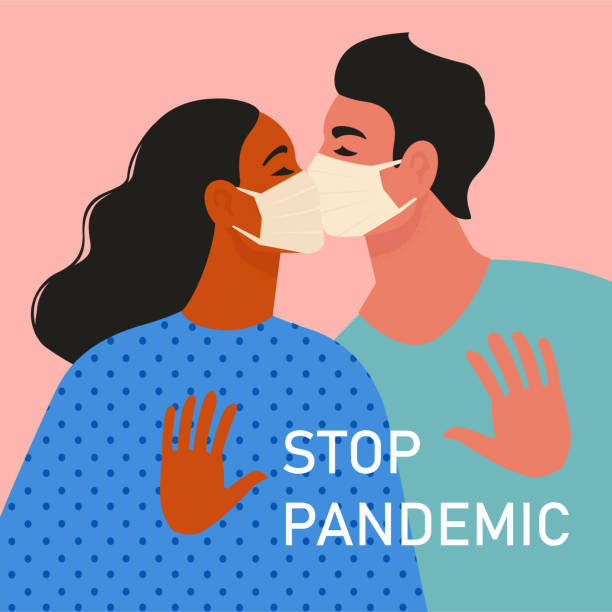 happy adorable couple in love. young man and woman kiss passionately with each other. pair of romantic partners in medical masks on date. boyfriend and girlfriend. flat vector illustration. - kiss stock illustrations