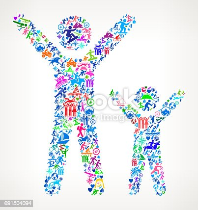 istock Happy Adult and Child  Active Lifestyle Vector Icon Pattern 691504094