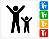 Happy Adult and Child Icon Flat Graphic Design