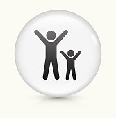 Happy Adult and Child icon on white round vector button