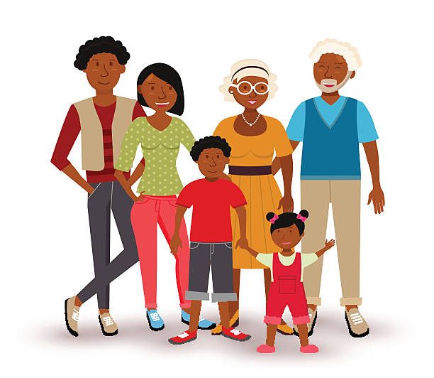 Happy African American Family Illustration Vector Art