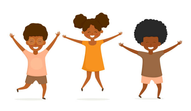 Happy african american kids jumping and have fun. vector art illustration