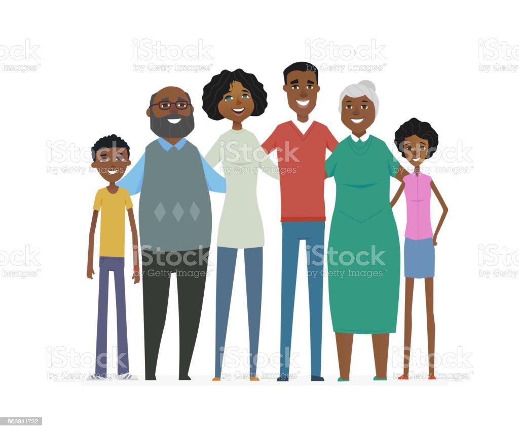 Família feliz africana - personagens de desenhos animados pessoas isolaram ilustração - ilustração de arte em vetor